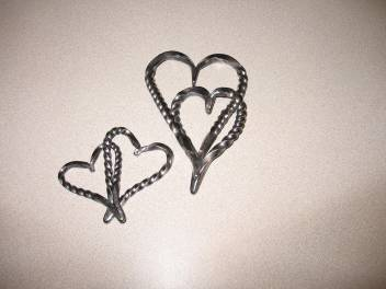 Forged Welded Hearts Intertwined